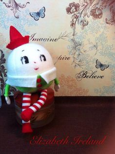 "Pre-Order 8"" weighted   ""Humpty Dumpty "" soft wool felt doll stand-free by Lizzy on Etsy, $37.00"