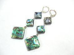 Abalone Shell Earrings, Emerald Green Rainbow Paua Shell Jewelry, Geometric Peacock Dangles