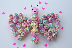 rainbow butterfly cupcakes cake with hearts