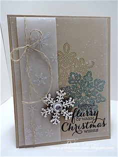 by Deb: Flurry of Wishes, Gorgeous Grunge, Winter Wonderland Vellum stack, Snowflake Elements, & more - all from Stampin' Up!