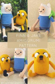 It's Adventure Time! Make yourself a cute little Finn and his best friend Jake the Dog! Clear, straightforward pattern suitable for beginner/intermediate crocheters #amigurumi #crochet #handmade #adventuretime #finn #jake #plushtoy #ad