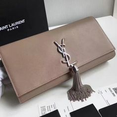 2017 S/S Saint Laurent Tassel Clutch in Taupe Leather and Silver-Toned hardware