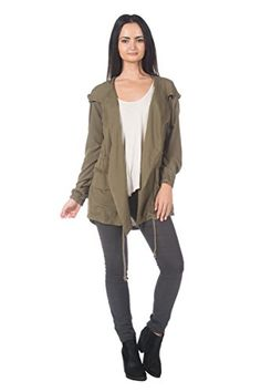 79f10005 Women's Plus Olive Green Drawstring Tie Waist Hooded Urban Cargo Anorak  Jacket (1XL) at Amazon Women's Coats Shop