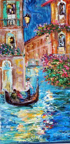 Trend Mark Venice Italy Canal Black White Oil Painting Canvas Modern Art Cityscape Original Art