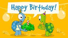 Happy Birthday eCard mit der Schildkröte Lory die einen Salat zum Geburtstag bekommt. Mehr Geburtstagsgrußkarten gibt's hier: https://www.tucano-ecards.de/?page=category&category_id=6