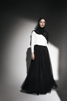 INAYAH | Gracious, elegant looks:  Black Maxi #Tulle #Skirt + White Crepe #Top + Black Maxi Georgette #Hijab www.inayah.co