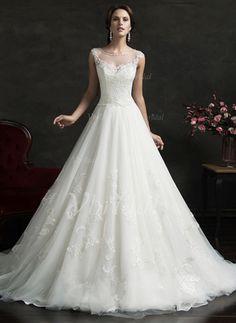 8565a32aa25 Forme Marquise encolure dégagée Traîne moyenne Tulle Robe de mariée avec  Motifs appliqués Dentelle (0025061656
