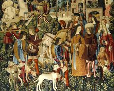 Part of the tapestry, 'The Unicorn is Killed and Brought to the Castle'.    Stirling Castle Unicorn Tapestries