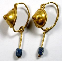 Roman Earrings - Gold with blue glass beads - 1st - 3rd. Century A.D.