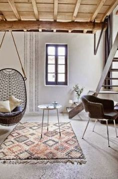 love the cement tiles against stone walls in that renovated house in south of France... wonderful materials such as timber and concrete w...