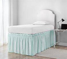 Gracie Oaks Sato Ruffled Dorm Bed Skirt Colour: Hint of Mint Dorm Bedding Sets, Twin Xl Bedding, Cute Bedding, Green Bedding, College Dorm Bedding, Dorm Rooms, Closet Interior, Dorm Bed Skirts, Bed Wrap