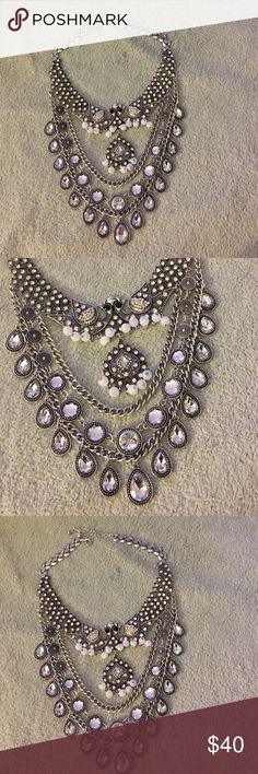 The bird necklace Sliver statement necklace with beads and rhinestones Jewelry Necklaces