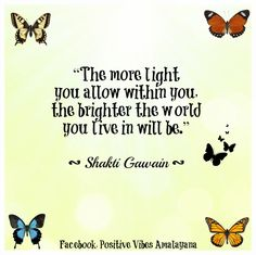 """The more light you allow within you, the brighter the world you live in will be.""  ― Shakti Gawain"