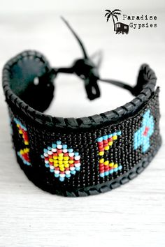 Black Leather & Bead Cuff by ParadiseGypsies on Etsy