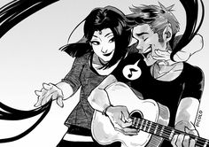 Beast Boy and Raven jamming together. Old Cartoon Shows, Cartoon Tv, Boy And Girl Sketch, Comic Book Characters, Comic Books, Raven Beast Boy, Cartoon Network Shows, Bbrae, Hero Time
