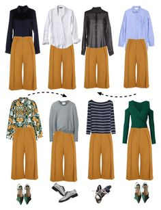 """Styling of mustard culottes Nr.2"" by lacas ❤ liked on Polyvore featuring Prada, Topshop Unique, Banana Republic, Atos Lombardini, H&M, 3.1 Phillip Lim, MM6 Maison Margiela, Converse and Maison Margiela"