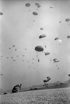 GERMANY. Near Wesel. March 24th, 1945. American paratroopers landing in Germany.  Robert Capa