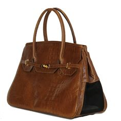 Tan Croco Luxurious Katie Dog Bag for your Chic Pooch. Made in America in All Pebbled Leather