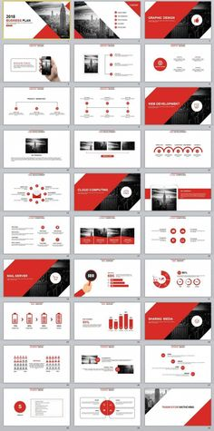 This is a smart and professional template that gives off a strong corporate feel. The clean white background is ideal for decks that are more information-heavy, while the red brings out the right emphasis. Powerpoint Design Templates, Ppt Design, Slide Design, Brochure Design, Graphic Design, Print Templates, Brand Presentation, Presentation Layout, Business Presentation