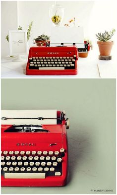 Vintage Typewriter-the more unique the color the better. Bonus if it works if not can be used for decoration!