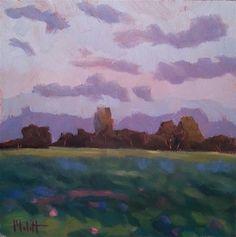 "Daily Paintworks - ""Clover Dawn Landscape Original Oil Painting"" - Original Fine Art for Sale - © Heidi Malott."