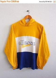 SALE 25% ELLESSE Sports Hoodie Sweater Women Small Vintage 90's Streetwear Sports Jacket Sweater Yellow Ellesse Sweatshirt Pullover Crewneck