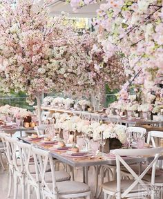 We're a little cherry blossom obsessed. We're headquartered in Washington, DC where everything is coming up blossoms this time of year. The Cherry Blossom Festival starts March and lasts until April Gold Wedding Decorations, Wedding Themes, Wedding Colors, Wedding Flowers, Floral Wedding, Wedding Venues, Wedding Ideas, Tree Wedding Centerpieces, Bouquet Wedding