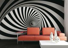 65+ идей 3d обоев на стену в квартире (фото) http://happymodern.ru/3d-oboi-na-stenu-v-kvartiru/ Черно-белые спирали в современной гостиной Смотри больше http://happymodern.ru/3d-oboi-na-stenu-v-kvartiru/