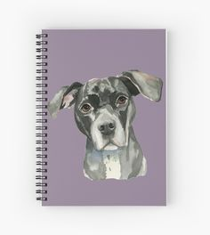 Notebook. This is a painting of the headshot of a black pit bull dog. She has her head tilted slightly and looking upwards.  She has brown eyes. This was painted in watercolor. • Also buy this artwork on stationery, apparel, stickers, and more.