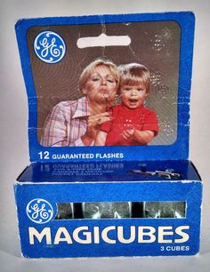 NIB GE Magicubes Flash Bulbs Really Neat Packaging Advertising Art Photography  #Kodak