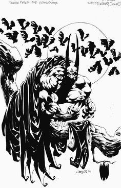 Kelley Jones is another artist from the that you either love or hate. In addition to his work on Detective, he also drew the wonderful Batman: Vampire Elseworlds trilogy. Comic Book Artists, Comic Artist, Comic Books Art, Dc Comics Art, Batman Comics, Batman Vs, Batman Redesign, Batman Artwork, Batman Poster