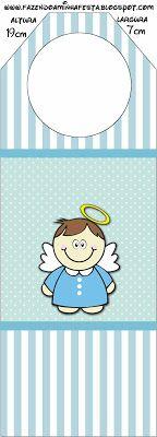 Batizado Menino Anjinho Moreno – Kit Completo com molduras para convites, rótulos para guloseimas, lembrancinhas e imagens! |