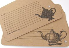 Handmade Recipe Cards | Handmade Recipe Cards. Lot of 24. Tea Time. Vintage Teapot images ...