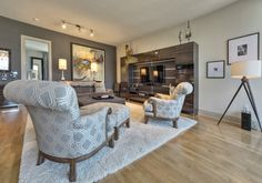 Wall colors (both Sherwin Williams): Black Fox & Moderate White - Hi-Rise condo Dallas contemporary living room - Houzz