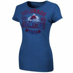 Colorado Avalanche Ladies First Down Crew T-Shirt - Royal Blue