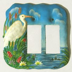Painted metal flamings, egrets, heron. Tropical Decor, Tropical metal art Decorative Light Switch Covers, Switch Plate Covers, Switch Plates, Tropical House Design, Tropical Home Decor, Cross Wall Art, Metal Wall Art, Tropical Birds, Tropical Art