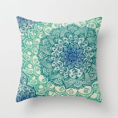 Emerald Doodle Throw Pillow by Micklyn - $20.00