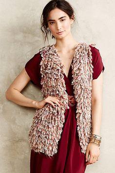 Anthropologie Handknit Vest Dollie taupe rust Sherbet Shaggy Loop NWT XS/S $148 #HandknitbyDollie #VestSleeveless