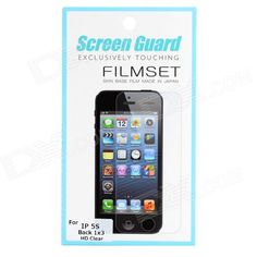 Brand: N/A; Quantity: 3 Piece; Color: White; Material: PET; Compatible Models: Iphone 5S; Screen Type: Glossy; Other Features: Protect phone screen from scratches dust and fingerprint; Packing List: 3 x Screen protector1 x Cleaning cloth; http://j.mp/1ljDQqz