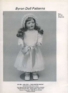 Byron Doll Pattern 1980's 89 JDK Big Sister Hilda Fits 24 Old Store Stock Sewing Pattern by LanetzLivingPatterns on Etsy