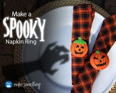 Spooky Napkin Rings are perfect for #Halloween parties and entertaining. They're easy to make with Dritz cover buttons. Instructions for #sewing on the blog. #crafts #DIY
