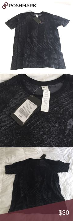 Men's Workout Shirt- Fabletics Black/gray men's Fabletics brand workout shirt, size L. Never worn, brand new with tags still on it. Super soft material with a lot of stretch. Fabletics Shirts Tees - Short Sleeve