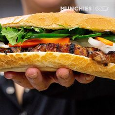 Andrea Nguyen, chef and author of Vietnamese Food Any Day, makes a char siu chicken banh mi in the MUNCHIES Test Kitchen. Andrea marinates and grills chicken. Vietnamese Banh Mi, Vietnamese Sandwich, Vietnamese Cuisine, Vietnamese Recipes, Asian Recipes, Sandwiches, Char Siu Chicken, Best Chicken Recipes, Gourmet