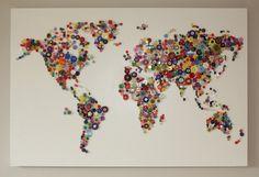BUTTON WORLD - Beautiful bespoke Map of the World