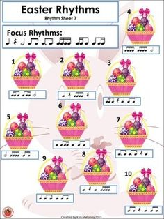 Easter Rhythm Activities  A 17 page PDF file of rhythm activities based on the Easter theme.