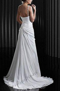 Nuevo one-shoulder Blanco chifón Playa Vestido de Novia Vestidos de Novia Personalizadas Simple