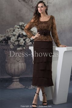 brown mother of the bride dresses tea length | ... Tea-Length Long Sleeves Mother of the Bride Dress -Mother of the Bride
