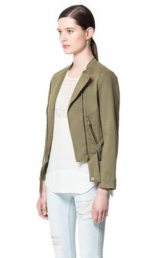Image 2 of COTTON JACKET WITH ZIPS from Zara