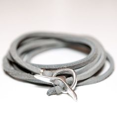 Jill Platner Rawhide Bracelet Rawhide leather wrap bracelet or necklace with Jill Platner's signature silver toggle clasp. The CH Edition comes in light grey.  $205.00