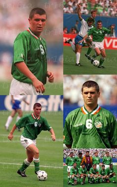 Photo collage of the day: June 18 Ireland, with a young Roy Keane anchoring the midfield, defeat Italy in their opening group match at the 1994 World Cup. Goal by Ray Houghton, and a superb defensive display by Paul McGrath. Irish Jokes, Irish Humor, St Patrick's Day Traditions, Irish Famine, Roy Keane, Cork City, Castles In Ireland, Irish Culture, Soccer